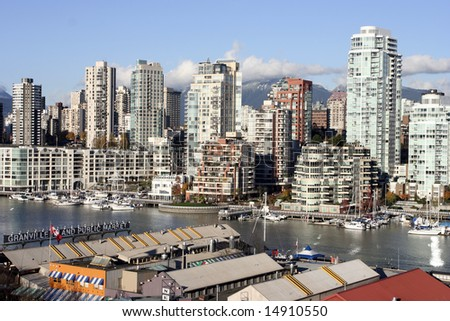 Granville Island Public Market and Yaletown at sunset - stock photo