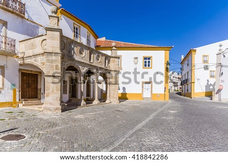 Grao-Prior Veranda in Crato, Alto Alentejo, Portugal. This veranda was the stage of the marriage of King Dom Manuel I, the most important king of the Sea-Discoveries Era in the 15th and 16th century. - stock photo