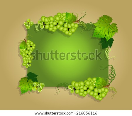 grape border or frame with grapes and leaves,greeting card or poster or brochure with grapes,grapes on vintage background,green grapes on green background - stock photo