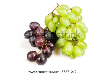 Grape of red and green wine isolated on white