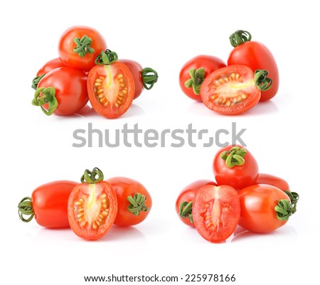 Grape or cherry tomatoes isolated on white background. - stock photo