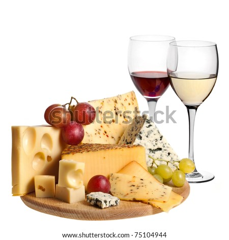 Grape wine with cheese isolation  on white background - stock photo
