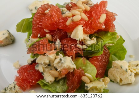 Grapefruit and blue cheese salad with cedar nut