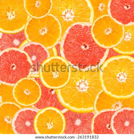 Grapefruit And Orange Slice Abstract Seamless Pattern - stock photo