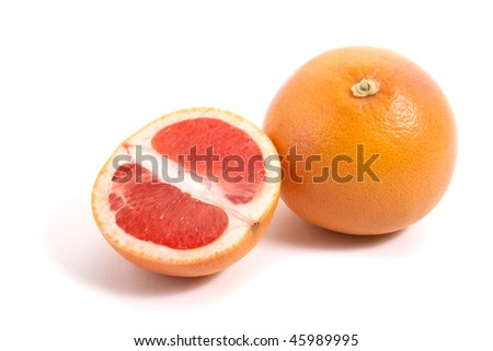 grapefruit with half isolated on white background