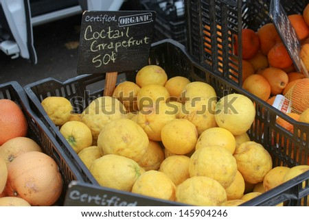 Grapefruits at the Santa Barbara Farmer's Market - stock photo