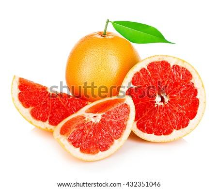 Grapefruits with leaf isolated on white background. - stock photo
