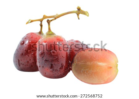 Grapes berry witch water drops isolated on a white background - stock photo