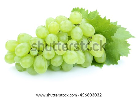 Grapes green fruits fruit isolated on a white background - stock photo