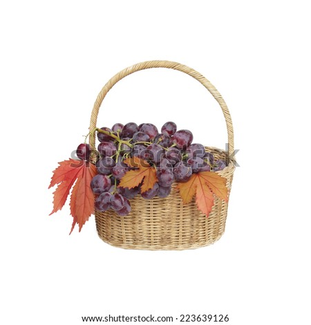 Grapes in a basket on a white background - stock photo