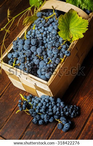 grapes in basket on a wooden background