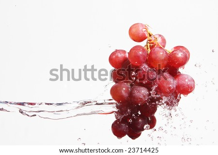 Grapes in water splashes isolated - stock photo