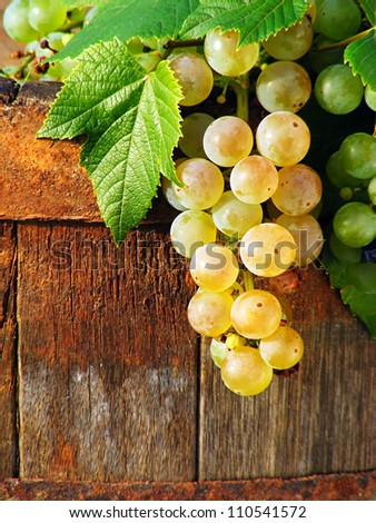 Grapes on a old wooden barrel - stock photo