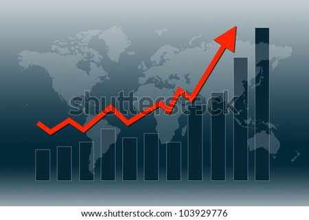 Graph and chart show world economy in recovery mode - stock photo