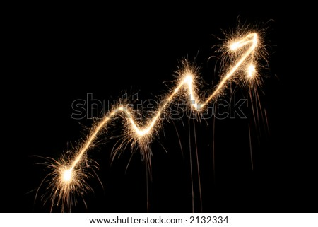 graph arrow sparkler - stock photo