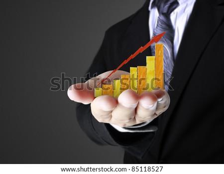 graph at hand - stock photo
