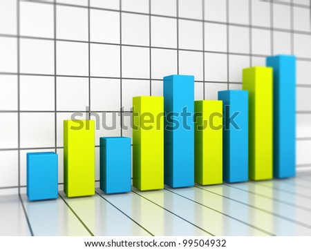 Graph blue and green bars - stock photo