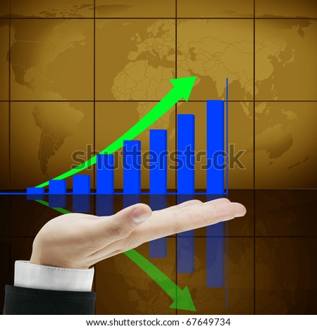 Graph business on hand - stock photo
