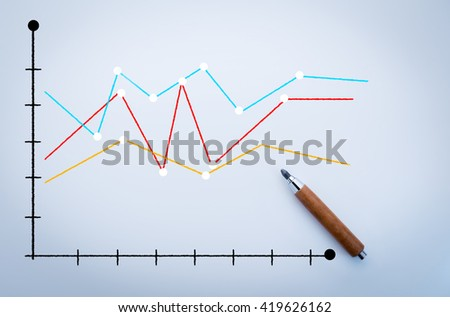 graph chart analysis on white board with pencil business concept - stock photo