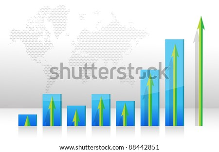 Graph chart Raising arrows illustration design - stock photo