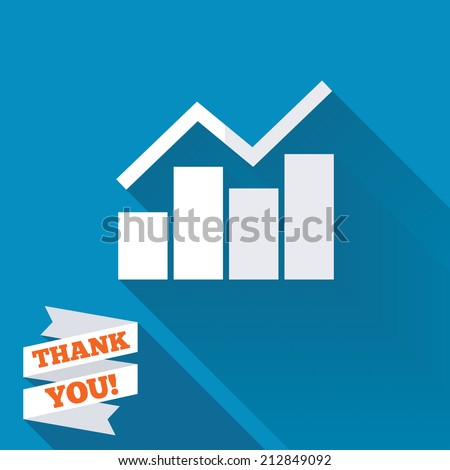 Graph chart sign icon. Diagram symbol. Statistics. White flat icon with long shadow. Paper ribbon label with Thank you text.
