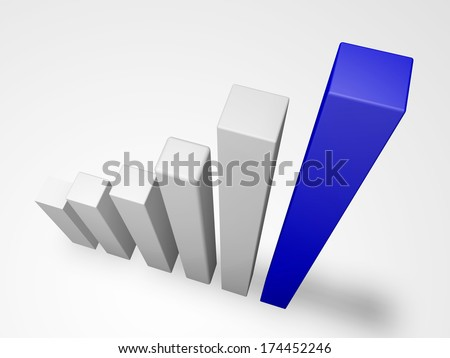 graph data in the form of a bar chart showing growth viewed from above - stock photo