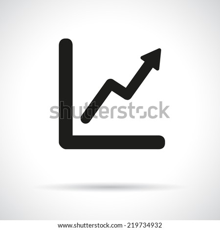 Graph, diagram. Black flat icon with shadow. Growth and success concept. Vector version is also available in the portfolio. - stock photo