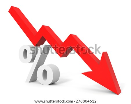 Graph down percent sign arrow. 3D illustration. - stock photo