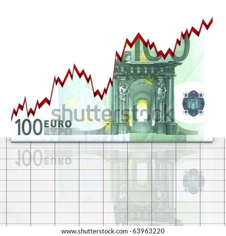 Graph euro up - stock photo