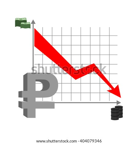 Graph fall ruble. Russian currency flies down. Quotation mark Russian money. Red arrow down. Reducing cost of  barrel of oil. Stacks of money and barrel of oil. Business infographics.
