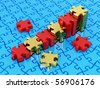 Graph from puzzle. 3d - stock photo
