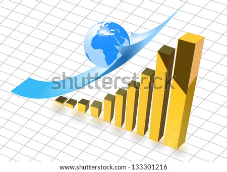 graph gold earth - stock photo