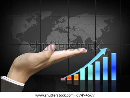 Graph hand - stock photo