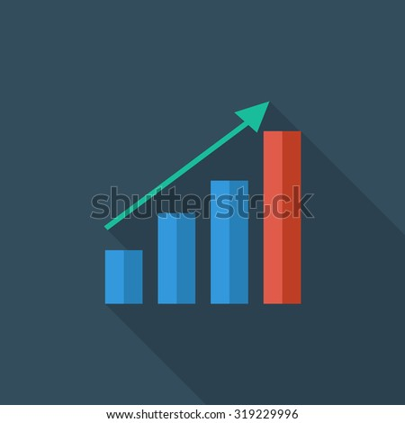 Graph icon. Flat related icon with long shadow for web and mobile applications. It can be used as - logo, pictogram, icon, infographic element. Illustration.