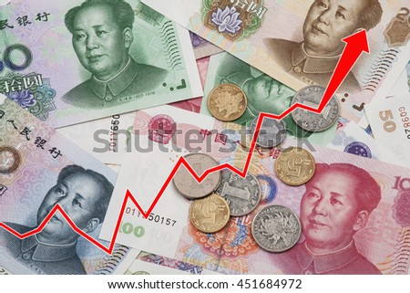 Graph illustrating the rise of the Chinese Yuan or RMB on the international market over a collage of Chinese money - stock photo