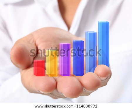 Graph in hand, businessmen - stock photo
