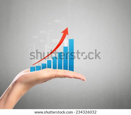 Graph in the hand - stock photo