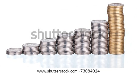 Graph made of gold coins, shows growth - stock photo
