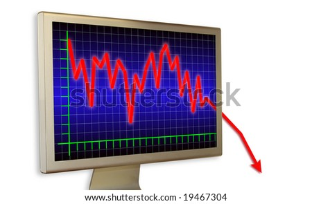Graph of crisis on real monitor with shadow on white wall - stock photo