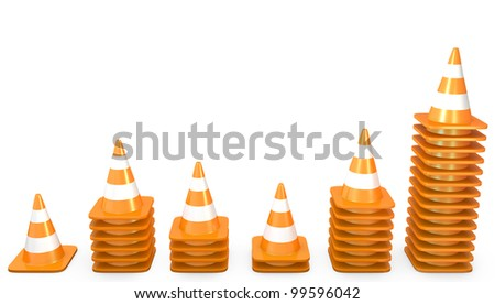 Graph of growth made of traffic cones, isolated on white background - stock photo