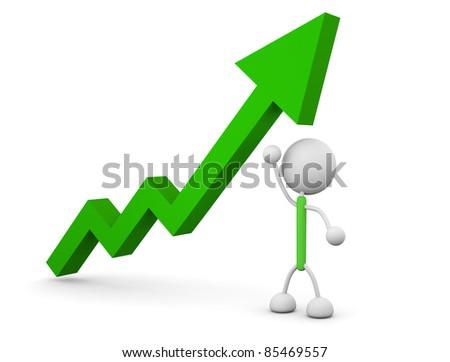graph of rising - stock photo