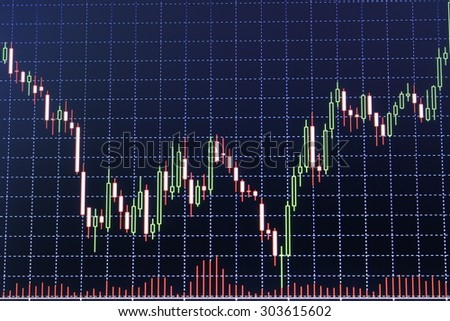graph of stock market - stock photo