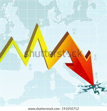 Graph of the Economic Crisis on the European map with the worst rate in Greece - stock photo