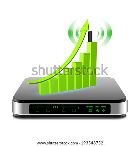 Graph on  wireless Router with the antenna illustration - stock photo