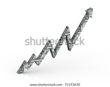 Graph one dollar wrap. - stock photo