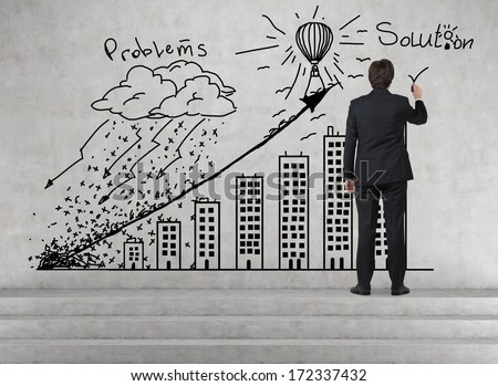 Graph 'problems and solutions' - stock photo