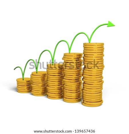 Graph rising with coins bars, 3d illustration - stock photo