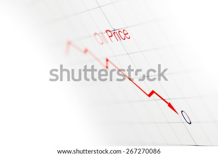 Graph showing falling oil prices in the market - stock photo