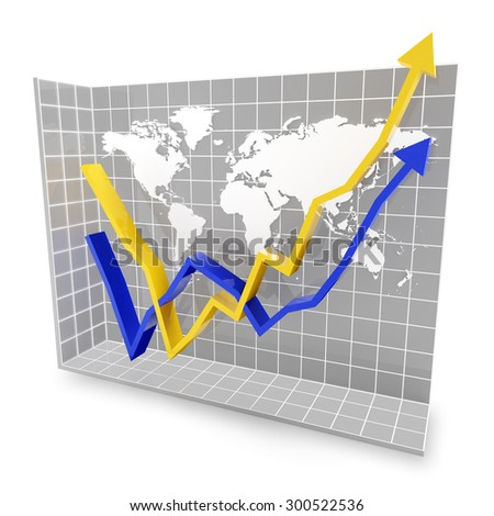 Graph showing rebound trend with world map, 3d render - stock photo