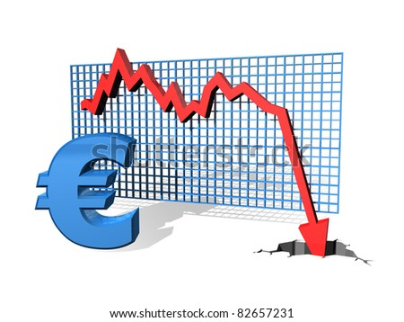 Graph showing the falling value of the Euro - stock photo